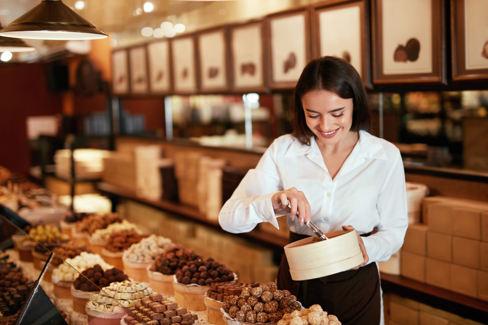 woman at chocolate shop